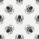 Flat monochrome vector seamless wildlife fauna pattern with black widow spider. Simplified. Cartoon style. Insect. Web Stock Image