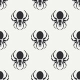 Flat monochrome vector seamless wildlife fauna pattern with black widow spider. Simplified. Cartoon style. Insect. Web Stock Photo