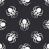 Flat monochrome vector seamless wildlife fauna pattern with black widow spider. Simplified. Cartoon style. Insect. Web Royalty Free Stock Photography