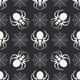 Flat monochrome vector seamless wildlife fauna pattern with black widow spider. Simplified. Cartoon style. Insect. Web Royalty Free Stock Photo