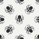 Flat monochrome vector seamless wildlife fauna pattern with black widow spider. Simplified. Cartoon style. Insect. Web Stock Photography