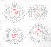 Flat monogram grey Stock Images