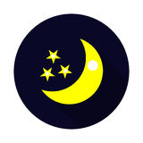 Flat Moon Icon with long shadow. Night symbol. Vector illustration. Flat Moon Icon with long shadown. Night symbol. Vector illustration EPS10 Royalty Free Stock Photography