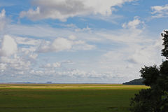 Flat Morecambe Bay landscape. Charity walk Royalty Free Stock Photography