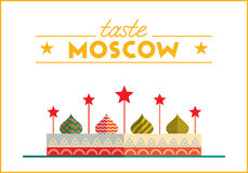 Flat Moscow illustration. Flat design colorful illustration of Moscow topic. Concept of turism in Russia and Moscow style. Best for banner, web, print design and Royalty Free Stock Images