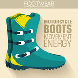 Flat motorcycle boots shoes background concept. Royalty Free Stock Image