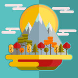 Flat mountain forest autumn landscape Stock Image