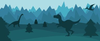 Flat mountain landscape with silhouettes of dinosaurs vector illustration