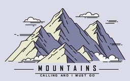 Flat mountain outline Stock Photo