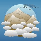 Flat mountain peaks in the clouds. Vector illustration vector illustration
