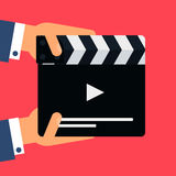Flat movie clapperboard. Symbol in hands. Stylish blank movie clapperboard elements. Vector Royalty Free Stock Photos