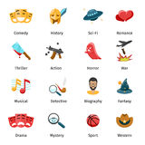 Flat movie genres vector icons. Sport and mystery, drama and fantasy, biography and war, horror and thriller illustration Stock Photography