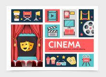 Flat Movie Infographic Concept. With coffee soda popcorn filmstrip projector cinema screen tv red carpet film reel eyeglasses tickets camera clapboard vector Stock Images