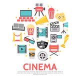 Flat Movie Round Concept. With cinema hall camera tickets filmstrip clapboard award film reel theater masks red carpet megaphone director chair projector Royalty Free Stock Photography