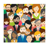 Flat multicultural people heads patter. Royalty Free Stock Photos