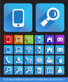 Flat Multimedia Icons with Shadows on Buttons 1. Stock Image