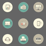 Flat multimedia symbol icons set for Web and Mobil Royalty Free Stock Images