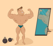 Flat muscular sports man in the mirror. Cartoon Royalty Free Stock Photography