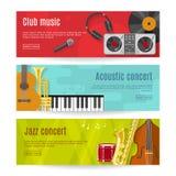 Flat Music Banner Set Royalty Free Stock Images
