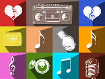Flat Music icon set Stock Photo