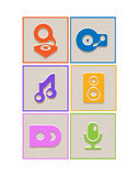 Flat music icons Stock Photography