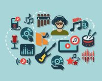 Flat music icons Royalty Free Stock Photo
