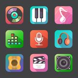 Flat music icons. Flat vector music icons set on grey background Stock Image