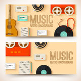 Flat music instruments background concept. Vector Stock Images
