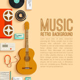 Flat music instruments background concept. Vector Royalty Free Stock Images