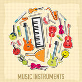 Flat music instruments background concept. Vector royalty free illustration