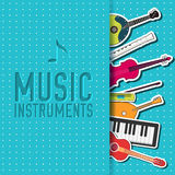 Flat music instruments background concept. Vector Royalty Free Stock Photography