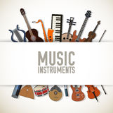 Flat music instruments background concept. Vector Stock Photos
