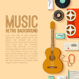 Flat music instruments background concept. Vector Royalty Free Stock Photos