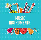 Flat music instruments background concept. Vector Stock Image
