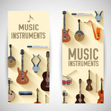 Flat music instruments banners concept. Vector Royalty Free Stock Photos