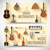 Flat music instruments banners concept. Vector Stock Photos