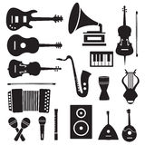 Flat music instruments icons pictograms background Stock Images