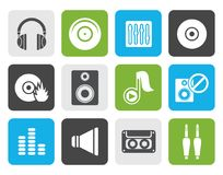 Flat Music and sound icons vector illustration