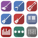 Flat musical icon set with long shadows Royalty Free Stock Photo