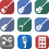 Flat musical icon set with long shadows Stock Images