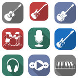 Flat musical icon set with long shadows Royalty Free Stock Photos