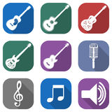 Flat musical icon set with long shadows Royalty Free Stock Images