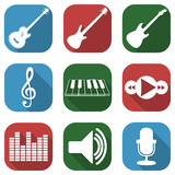 Flat musical icon set with long shadows Royalty Free Stock Photography