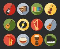 Flat Musical Icons. Colored Flat Musical Icons Isolated on Black Background Stock Photo