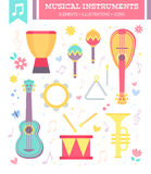 Flat musical instruments isolated on white. Background with notes. Vector illustration royalty free illustration
