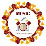 Flat musical instrumets round banner design. Flat musical instrumets round banner or poster design. Vector illustration Stock Photography