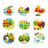 Flat natural circle logo set with various landscapes, mountains view and different types of vehicle. Entertainment. Natural circle logo set with various Royalty Free Stock Photography