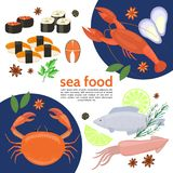Flat Natural Sea Food Template Royalty Free Stock Photography