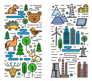 Flat nature and city. Vector color flat nature and city icons on white Royalty Free Stock Photo
