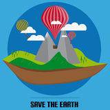Flat Nature With Clouds And Air Balloon With Save The Earth Royalty Free Stock Image